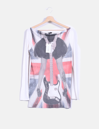 Camiseta manga larga blanca con estampado cuello barco Denny Rose