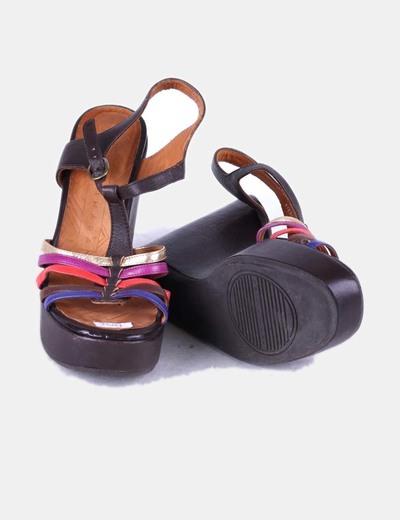 Sandalias de cuna marrones tiras multicolor