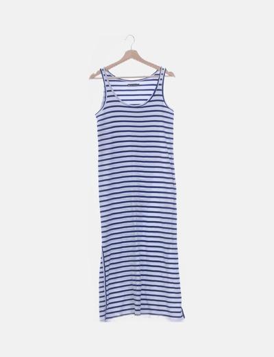 Maxi vestido de rayas con abertura