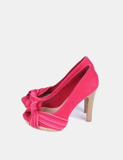 Zapatos peep toe fucsias tacón madera Suiteblanco