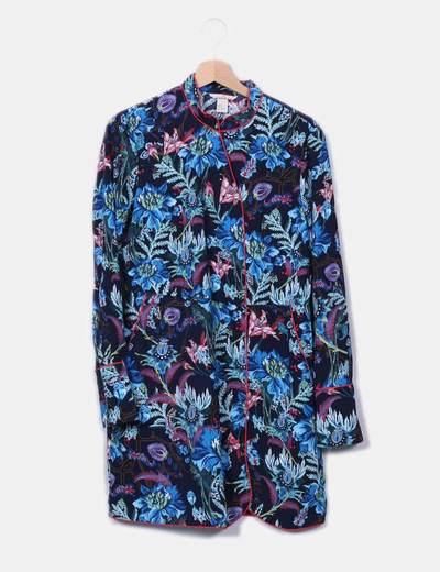 Robe midi bleue imprimé H&M