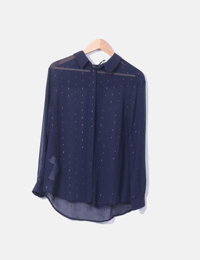Camisa azul transparente Mango