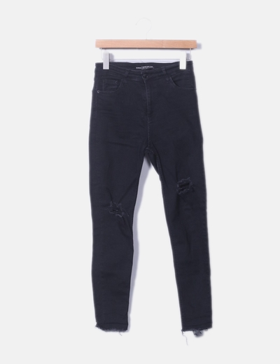 Jeans negro super high waist ripped