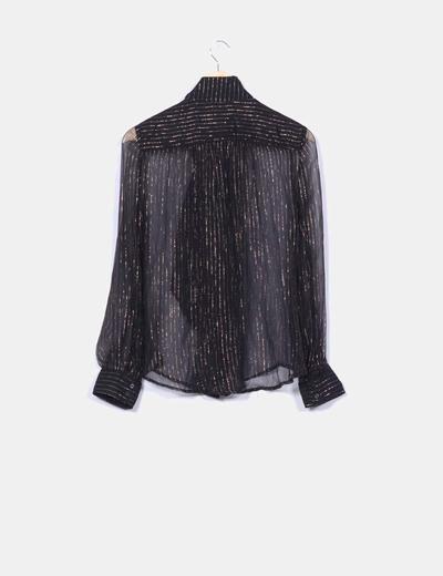 Camisa negra semistransparente hilos glitter