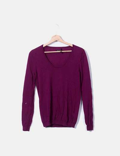 Jersey tricot morado Massimo Dutti