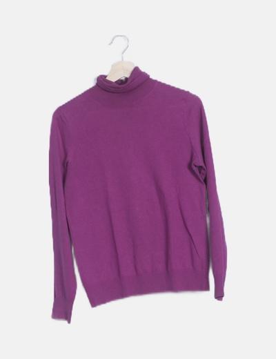 Jersey tricot básico morado cuello vuelto