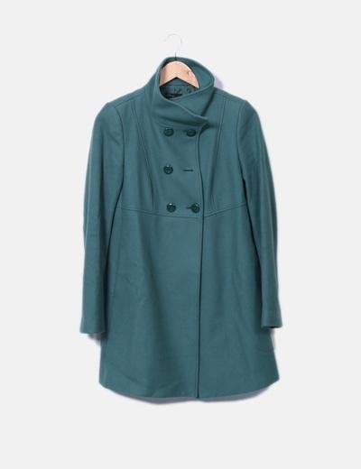 Abrigo de paño verde Benetton