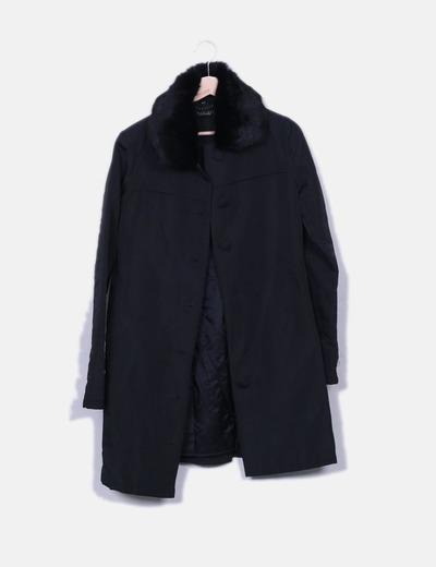 Manteau noir à fourrure long col Simona Barbieri