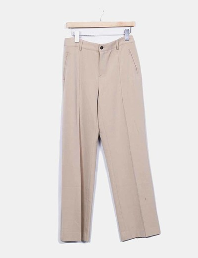 Pantalon vestir beige recto Lasserre