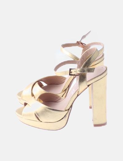 Sandalias tacón doradas glitter