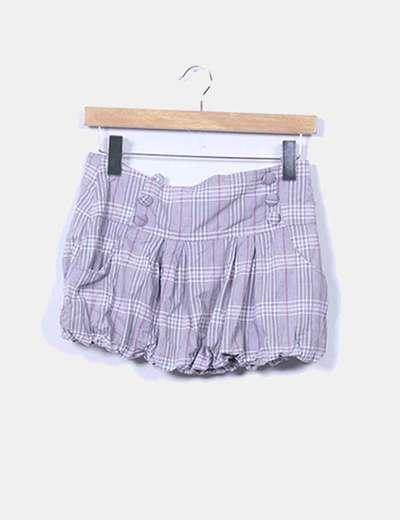 Mini falda abullonada cuadros grises Suiteblanco
