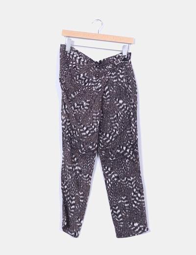 Pantalón baggy estampado cierre lateral Zara