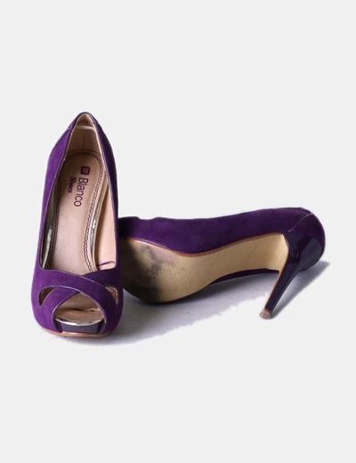 Zapato antelina peep toe morado