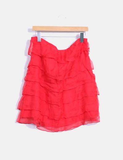 Falda volantes rojo