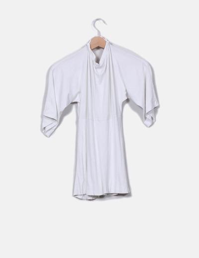 Top blanco cintura elastica canale