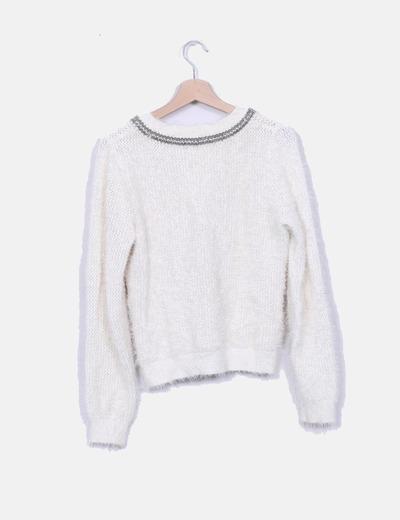 Jersey pelo blanco escote strass