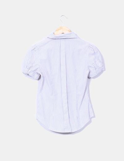 Camisa de rayas bicolor manga corta