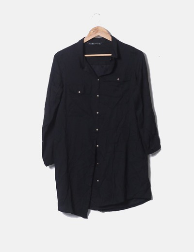 Camisa negra manga larga Zara
