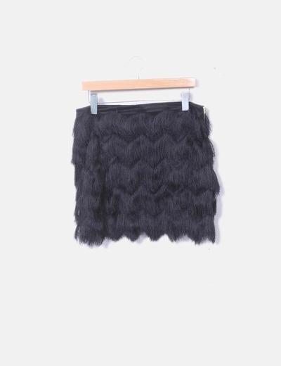 Minifalda negra flecos