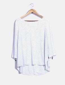 Blusa branca com bolinhas pretas Cortefiel 9a512679f9e