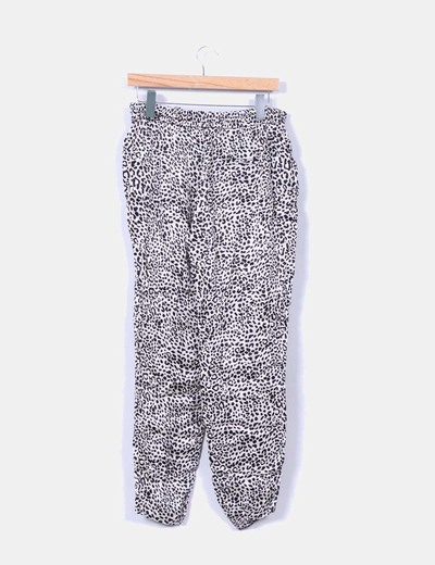 Pantalon baggy fluido estampado animal print
