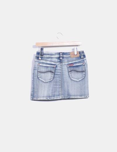 Falda mini denim efecto lavado