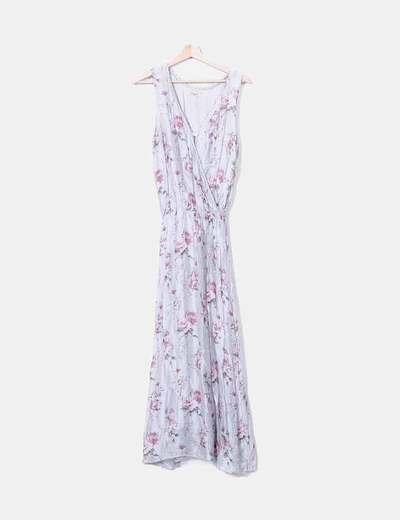 Maxi vestido gasa gris floral