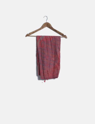 Foulard rojo floral combinado