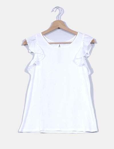 1d1eb977a72b1 NoName Camiseta blanca con volantes en las mangas (descuento 69 ...