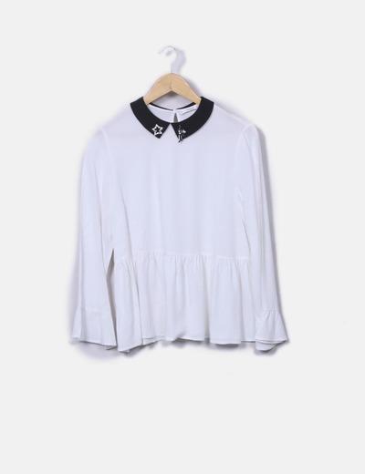 Camisa blanca cuello strass