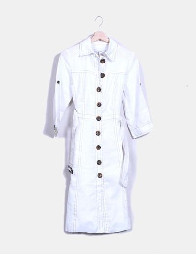 zara veste blanc en jean avec boutons r duction 92. Black Bedroom Furniture Sets. Home Design Ideas