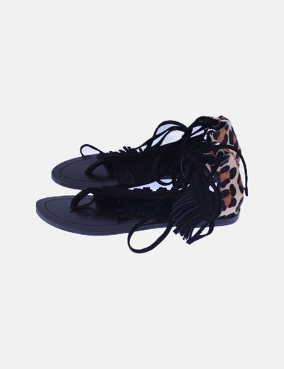 Sandalias animal print flecos lace up