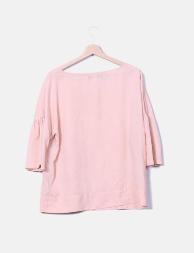 Blusa rosa manga campabna