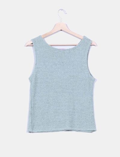 Top tricot verde claro sin mangas