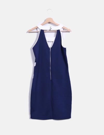 b08dc7721 Miss Sidecar Vestido azul marino y blanco ajustado (descuento 72%) - Micolet