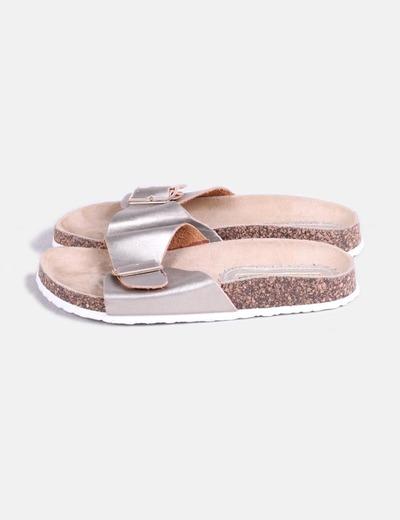 Sandales plates marron doré Suiteblanco