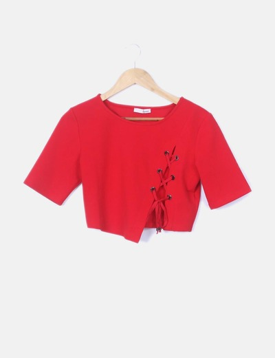Crop top rojo lace up