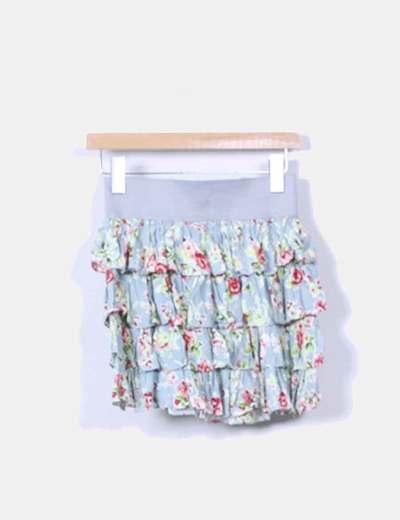 Falda volantes estampado floral Zara