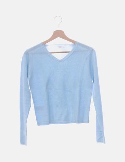 Jersey tricot azul claro cuello en pico