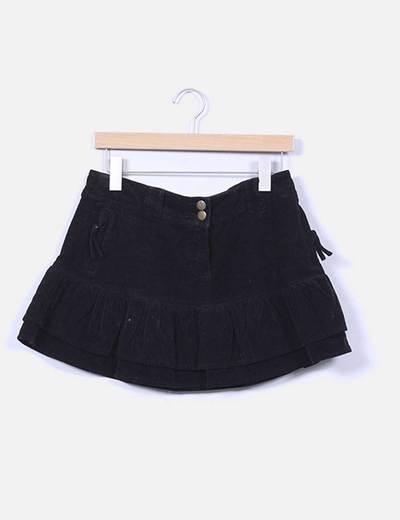 Mini falda negra de pana con volantes PMK Digital