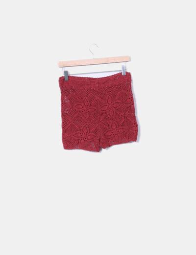 Short en crochet rojo