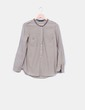 Camisa khaki ribetes bordados Zara