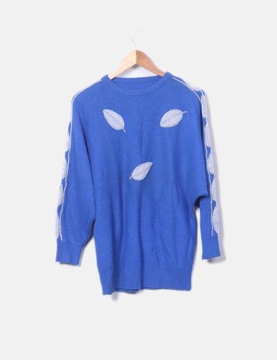 Jersey  azul tricot con abalorios