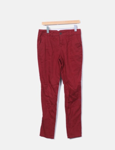 Pantalon rouge Bershka