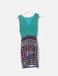 Vestido verde falda estampada Kokolo