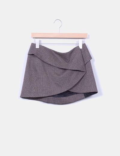 Pull Bear Mini Falda Asimetrica Cuadros Marrones Descuento 56
