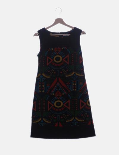 Vestido tricot multicolor manga sisa