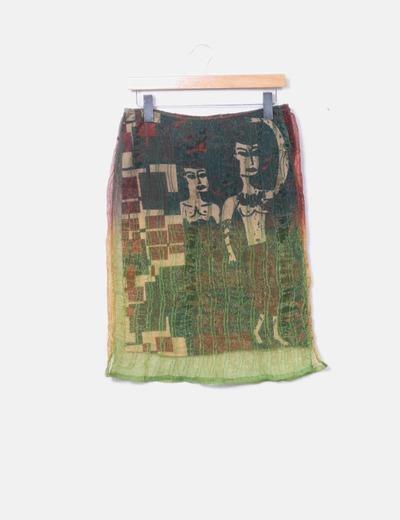 Falda midi tul degradada Custo Barcelona