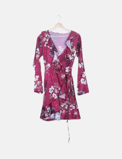 Vestido satinado cruzado floral