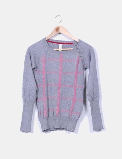 Jersey gris y fucsia cuello redondo Pull&Bear